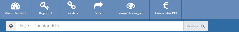 Menu analisi sito web screenshot