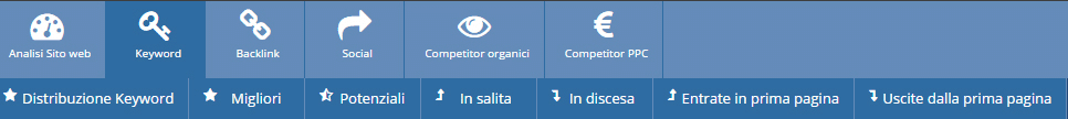 Il menu analisi keyword di seozoom