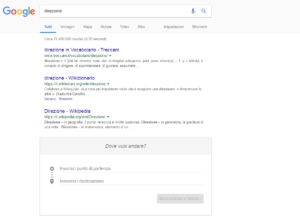 Google Ricerca direzioni