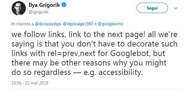 I googler spiegano la paginazione