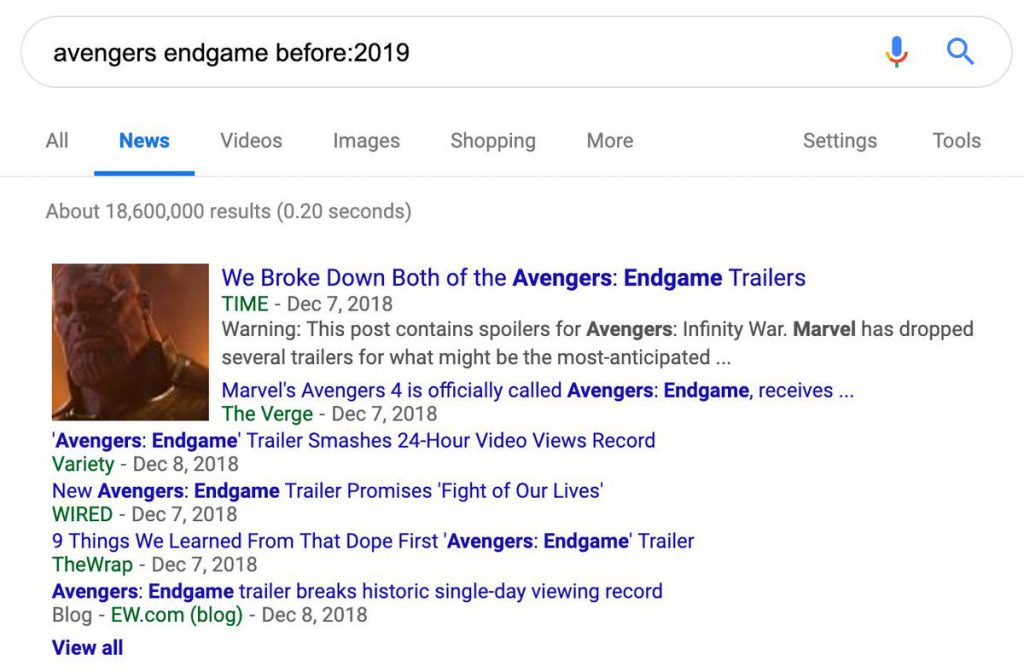 After e before in Google Search