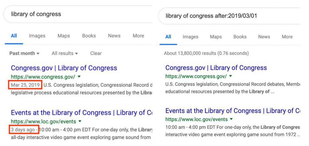 Date visualizzate in Search