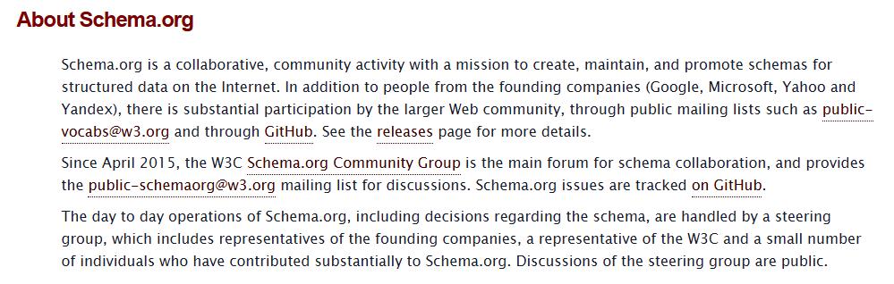 Che cos'è il progetto Schema.org
