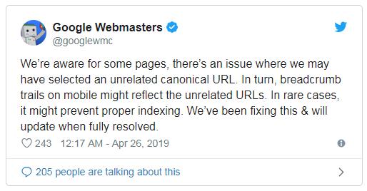 Google comunica il bug