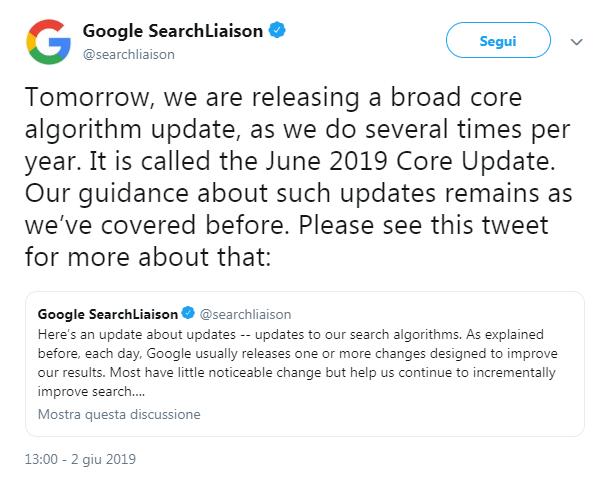 Annuncio di update Google