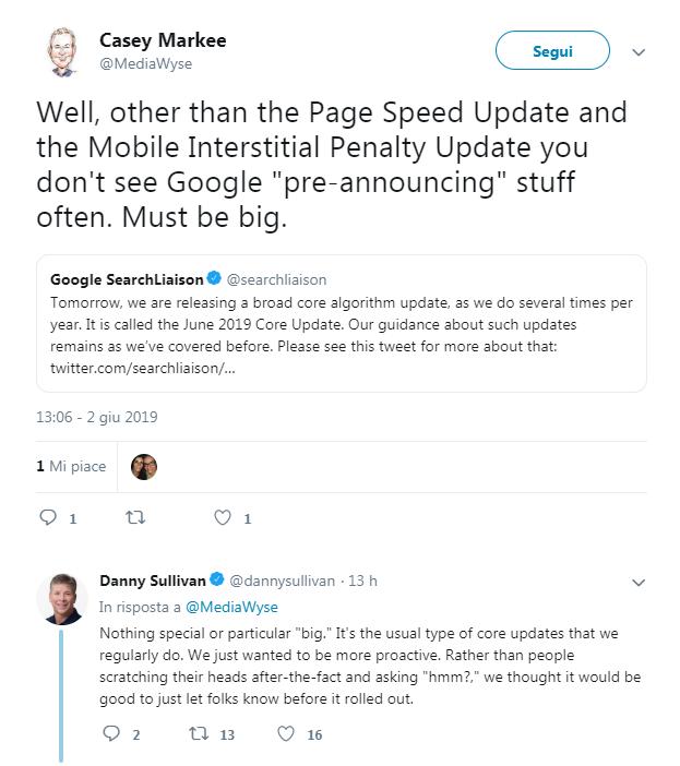 Update Google, le indicazioni