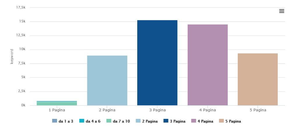 Grafico con distribuzione delle keyword
