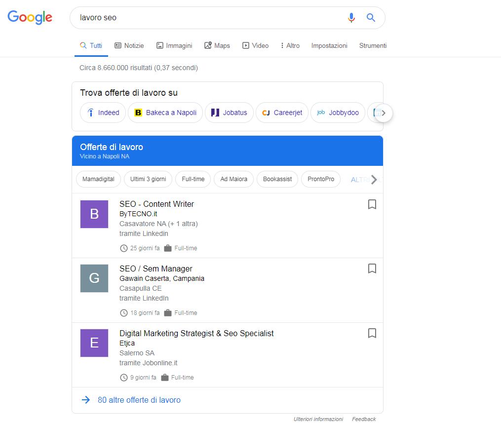 Esempio query lavoro SEO in Google Jobs