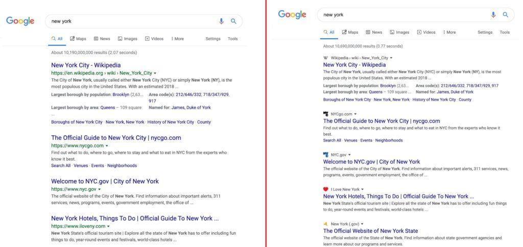 Esempi del nuovo design di Google