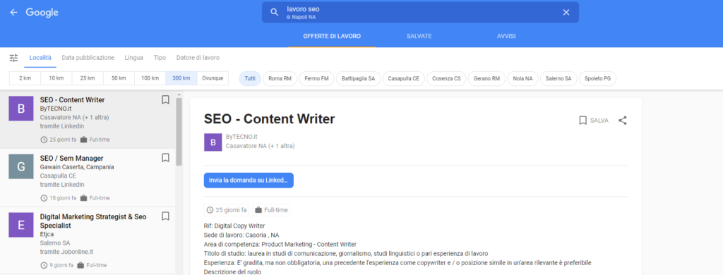Esempio di schermata d Google Jobs