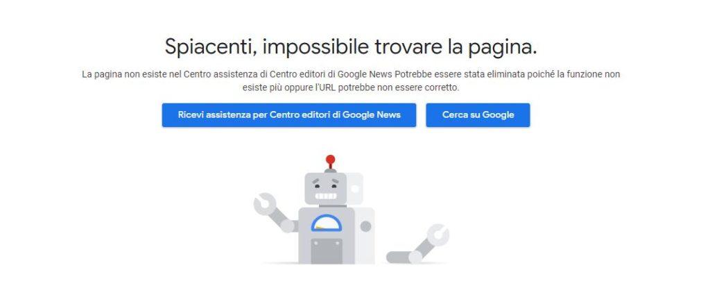 Messaggio di errore su Google News