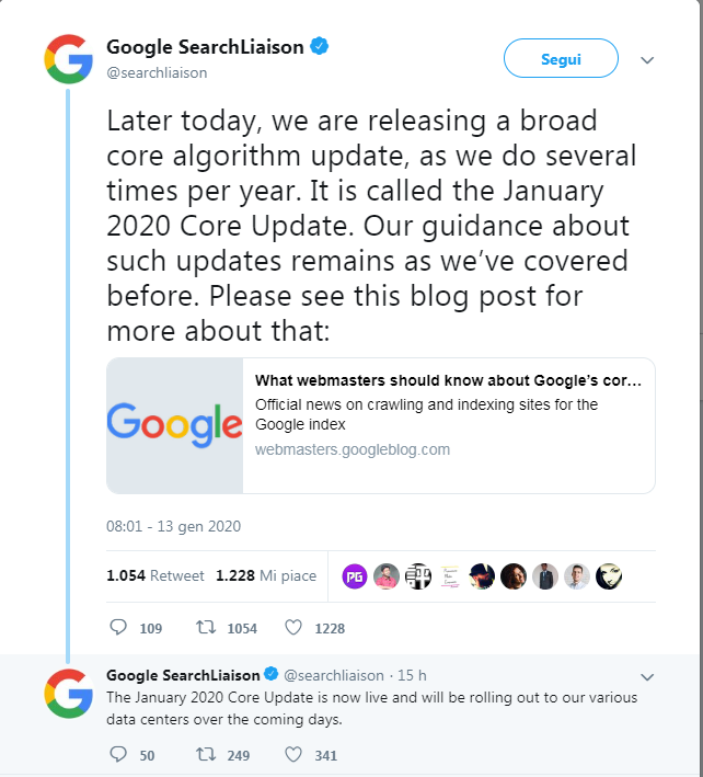 Il tweet di Google sullìupdate di Gennaio 2020
