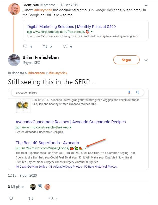 Google mostra le emoji in URL