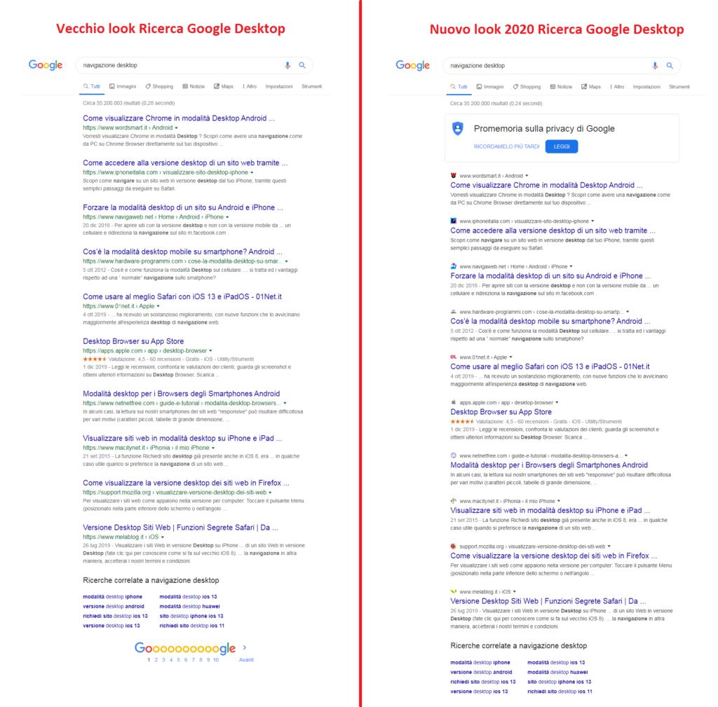 Google Search, confronto tra i design
