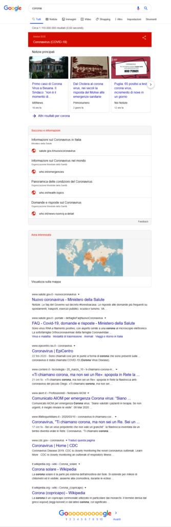 La nuova SERP Google per Corona