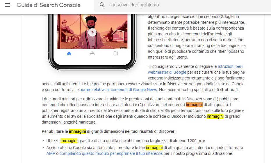 Screenshot della Guida di Google a Discover