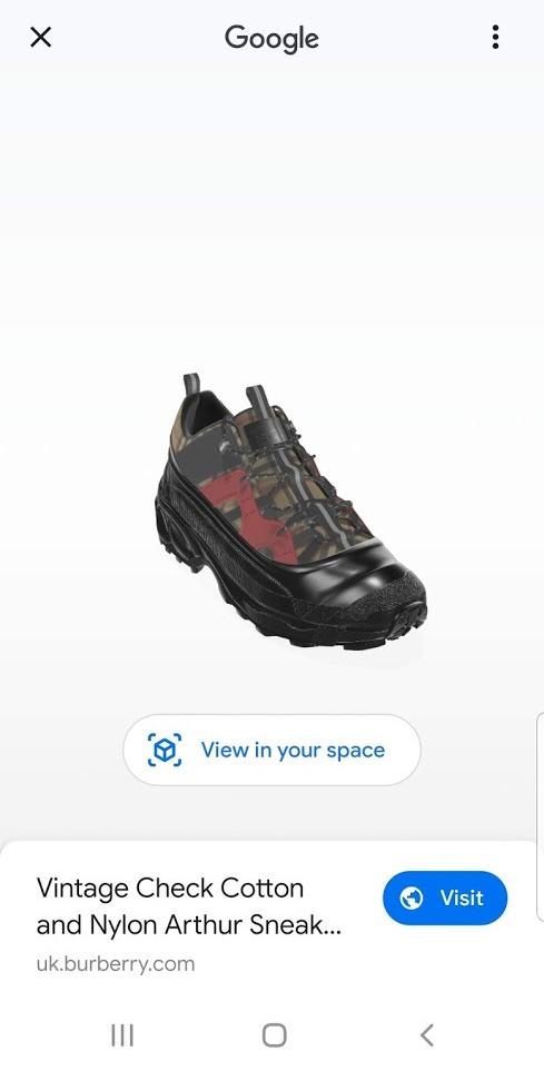Sneaker Burberry nella Ricerca Google mobile