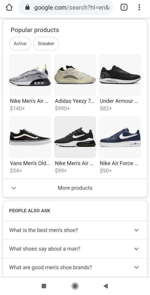 Schermata di esempio di Popular Product