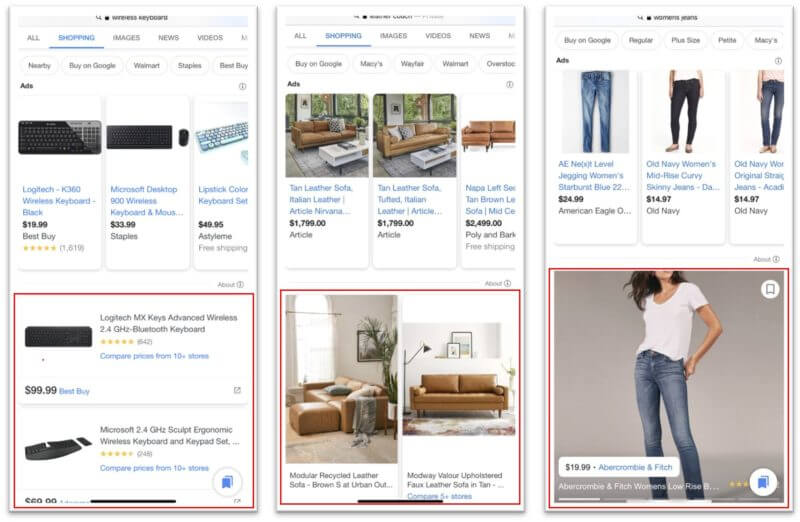 Il layout di Google Shopping da mobile