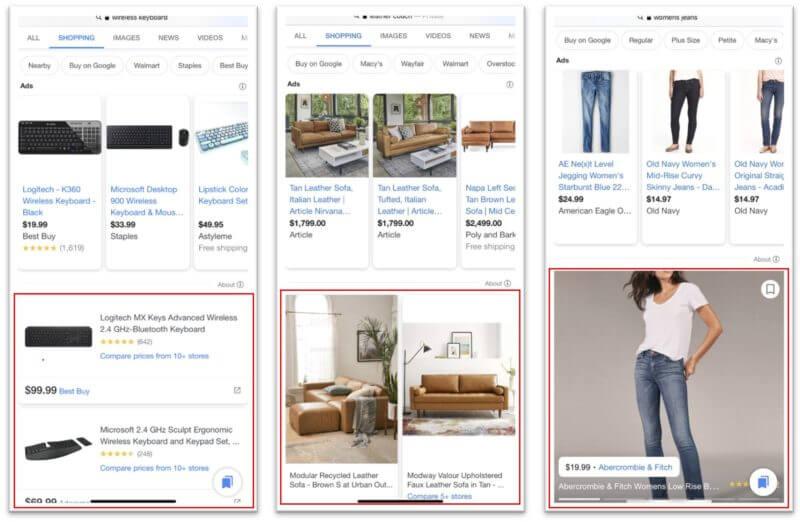 Il layout di Google Shopping da mobile