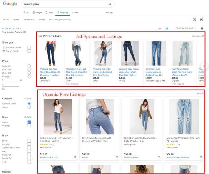 Differenze di visualizzazione di annunci e prodotti gratuiti in Google Shopping