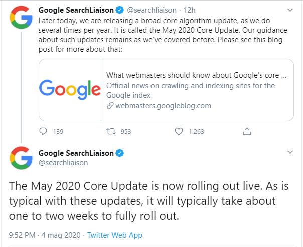 Screenshot dell'annuncio di Google