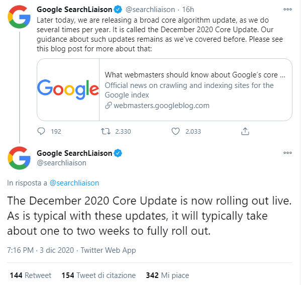L'annuncio su Twitter del December 2020 Core Update