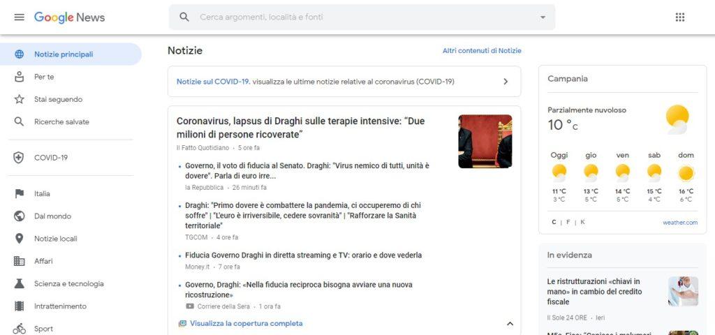 esempio di pagina di Google News