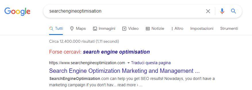 esempio di query su Google con forse cercavi