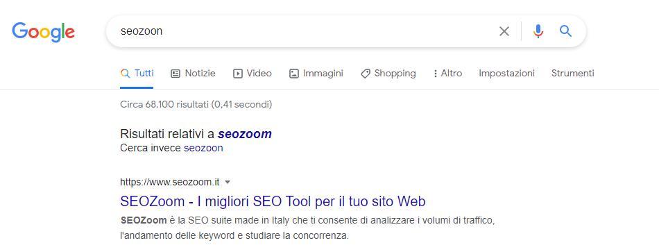 Correzione di misspelling su google