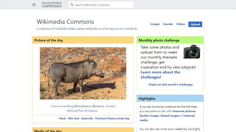 Screen di Wikimedia Commons