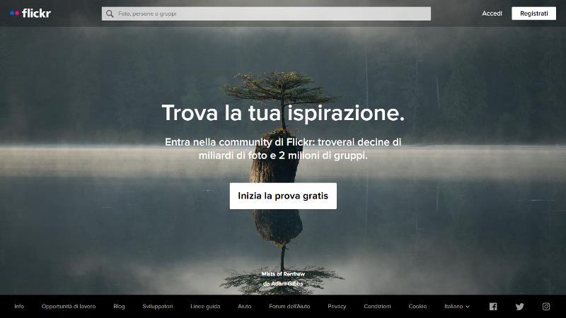 Screen di Flickr