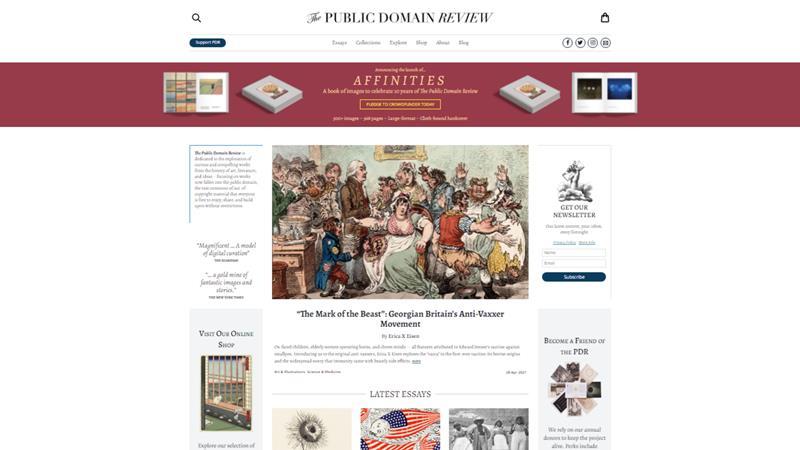 Screen di Public domain review