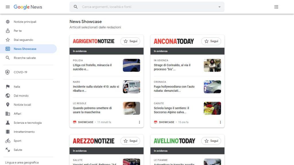 La schermata italiana di News Showcase