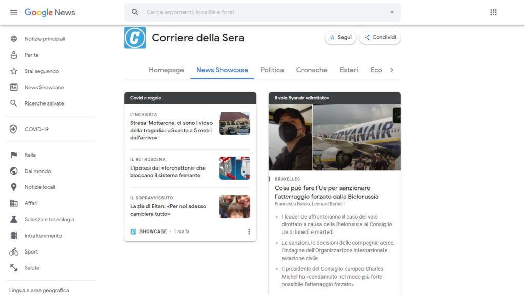 Schermata della pagina del Corriere su Google News