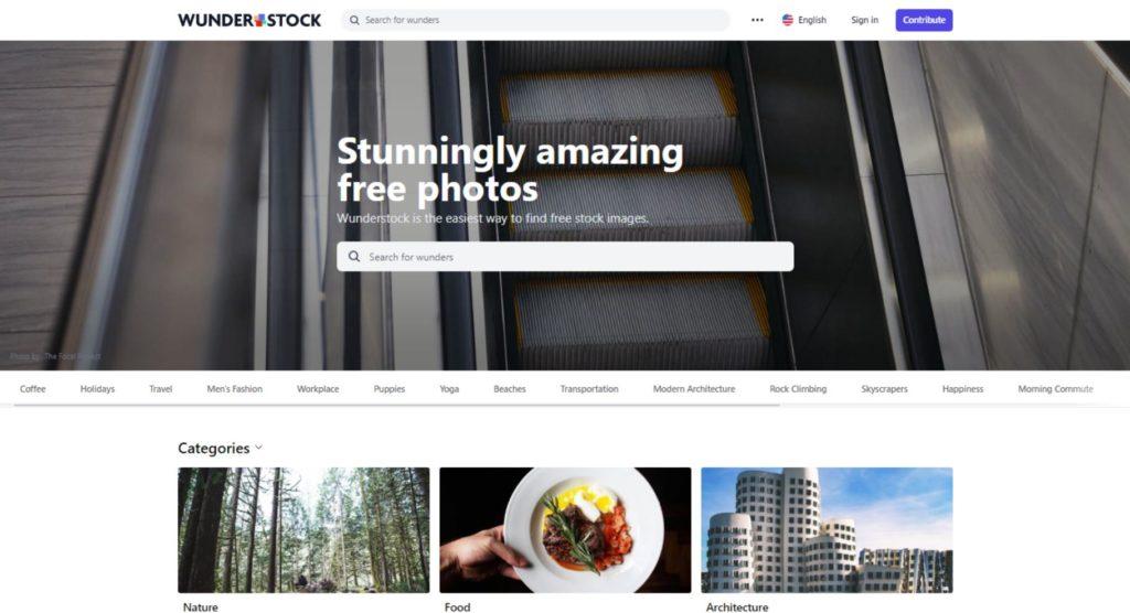 La schermata del sito Wunderstock