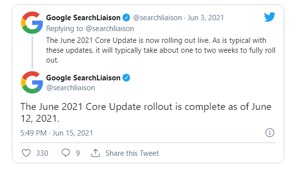 Google annuncia fine rollout update