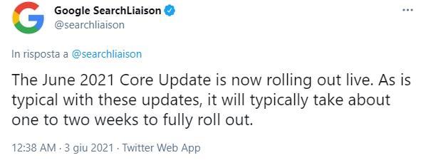 Schermata di Twitter su June 2021 Core Update Google