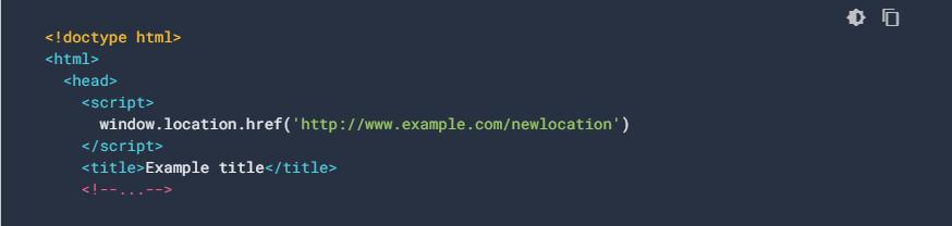 Esempio di redirect javascript