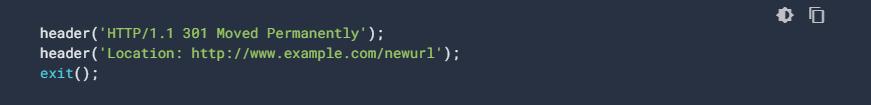 Esempio di redirect permanente con PHP