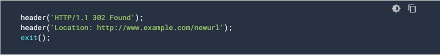 Esempio di redirect temporaneocon PHP