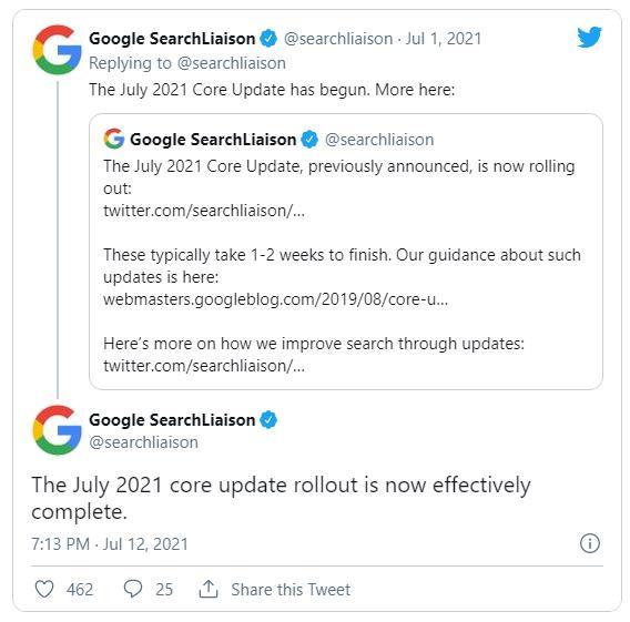 L'annuncio su Google sul July 2021 Core Update