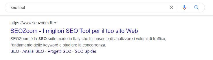 Schermata Google per la query seo tool con sitelink