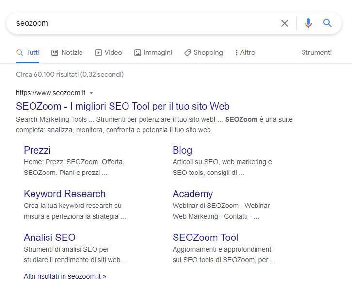 Schermata Google per la query SEOZoom con sitelink