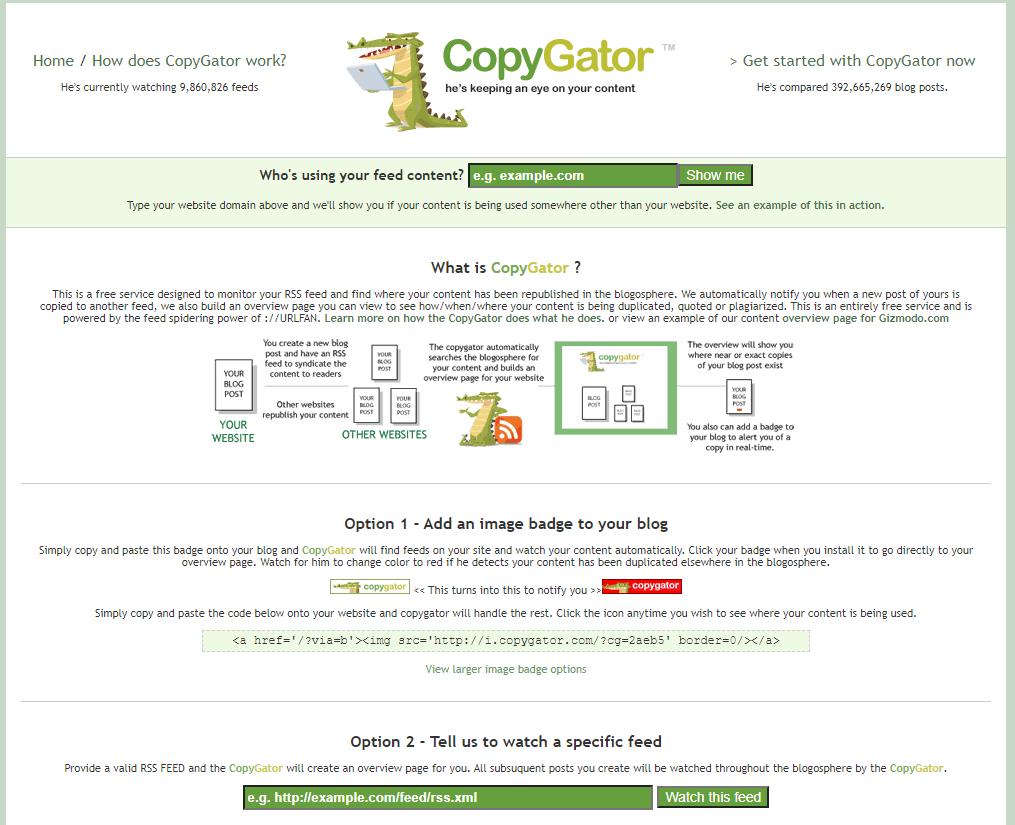 Copygator, uno strumento gratis antiplagio