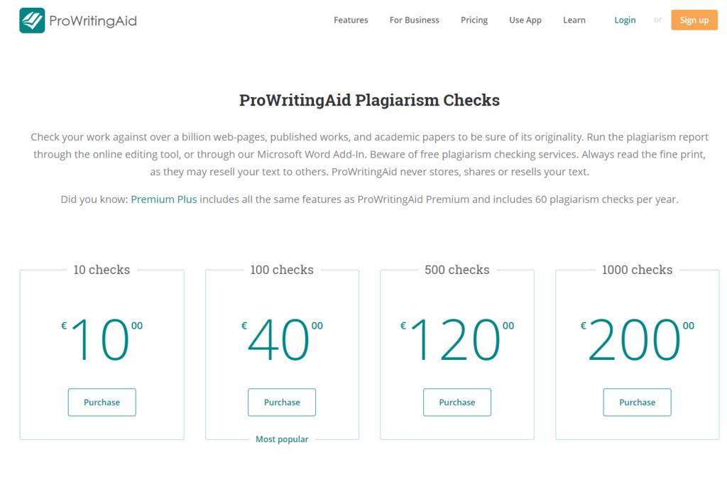 ProWrintingAid, screen dei piani di abbonamento