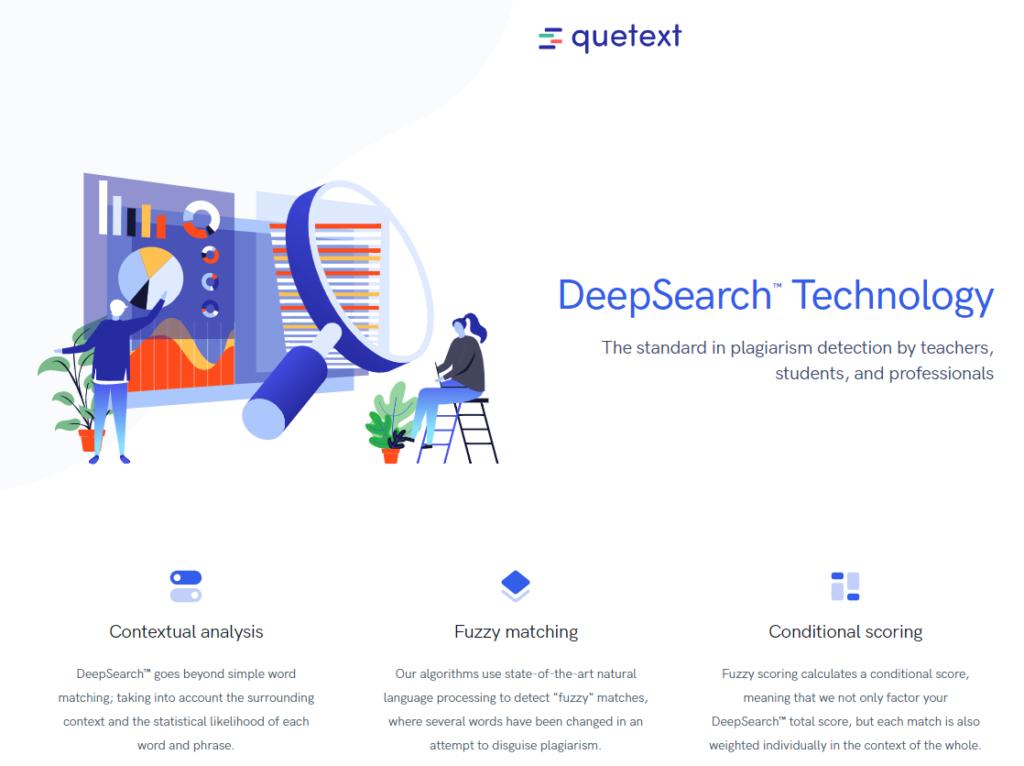 La home page di Quetext