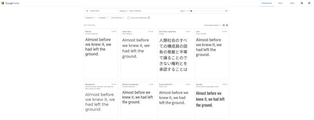 Alcuni esempi di Google Fonts
