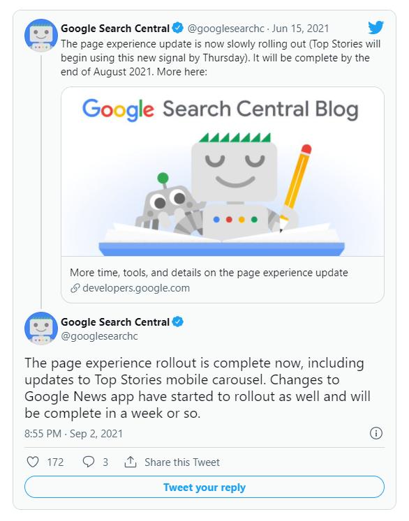 L'annuncio di Google: completato il Page Experience update