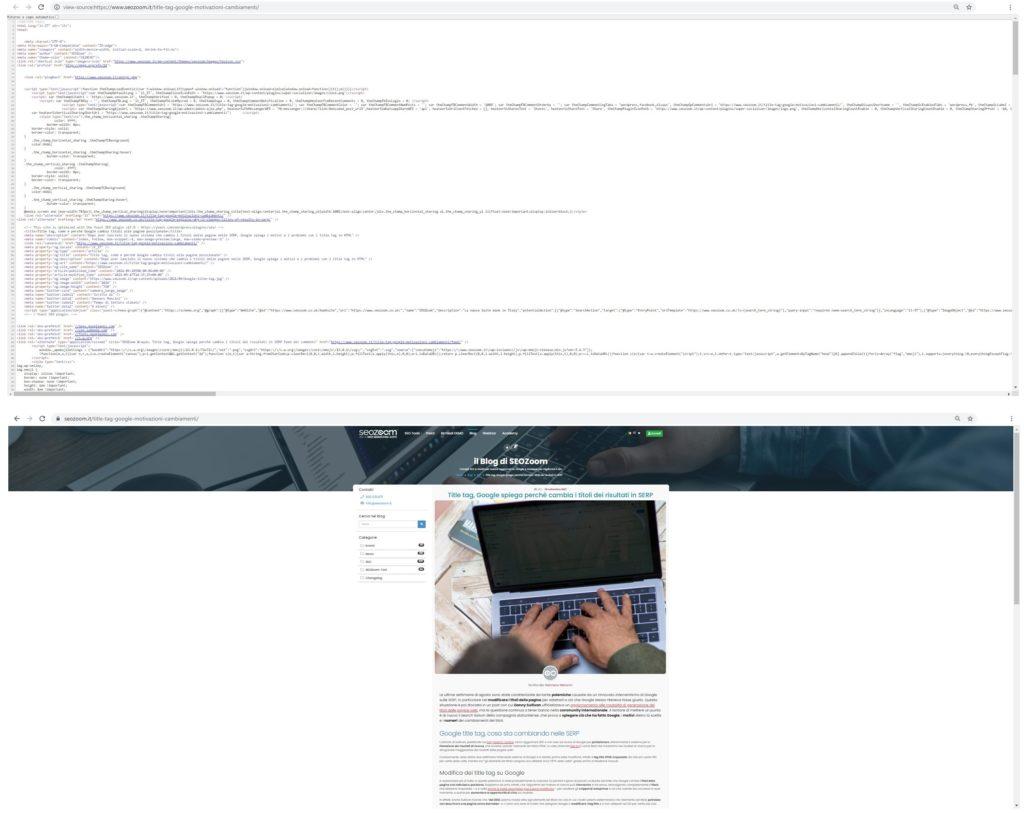 Confronto tra sorgente pagina e pagina visualizzata nel browser